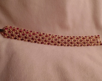 Dazzling Bracelet with Ruby Red Rhinestones-Jacqueline Kennedy Collection