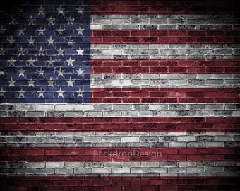 Patriotic Backdrop - rustic Grunge dark brick wall with American flag, 4th of July - Printed Fabric Photography Background G0122
