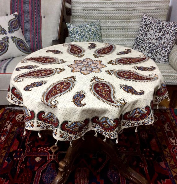Round Handcrafted Authentic Ghalamkari Cloth, paisley tablecloth
