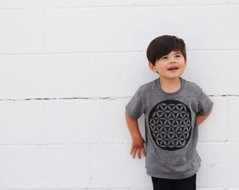 flower of life shirt | bohemian baby clothes, hippie baby clothes, music festival clothing, festival shirt, toddler t shirts, baby tee, GREY