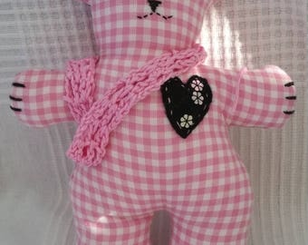 Pastelle Bear cloth doll, bunny doll, spring doll, floral art doll, gifts for her, unique gifts