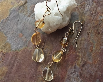 Citrine Stone Earrings / Gemstone Earrings / Citrine Earrings / Citrine and Gold