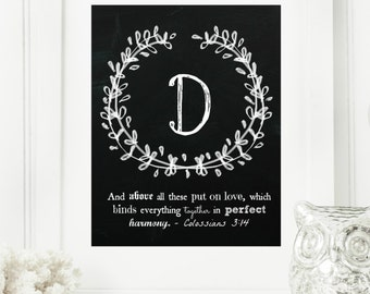"""Instant """"Family Monogram Scripture"""" Chalkboard Wall Art Print 8x10 Typography Letter """"D"""" Printable Home Decor"""