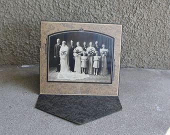 Vintage Antique Photograph Wedding Black White Sepia 1930s 1940s Altered Art Mixed Media Supplies Prop
