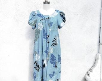 Vintage 60s Blue Hawaiian  Mumu, Floral Dress Made in Hawaii