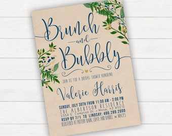 Brunch and Bubbly Bridal Shower Invitation Printable Floral Bridal Shower Invitations Bridal Shower Brunch Wedding Shower Invitations