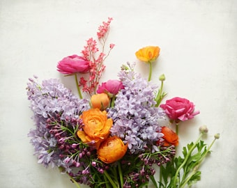 "Flower still life - ranunculus print - floral art - botanical print - bedroom wall art - gift for her -  nursery art ""Spring Garden Blooms"""