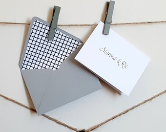 Mini gift cards etsy mini black white grey personalized gift cards with lined envelopes crosshatch gift card negle Choice Image