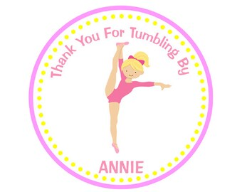 Gymnastics Birthday Favor Tags, Tumbling Party Favor Tags