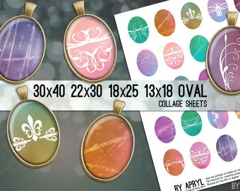 Digital Collage Sheet 30x40 22x30 18x25 13x18 Oval Pastel Grunge Scrollwork Images for Glass and Resin Pendants Cameos Paper Craft
