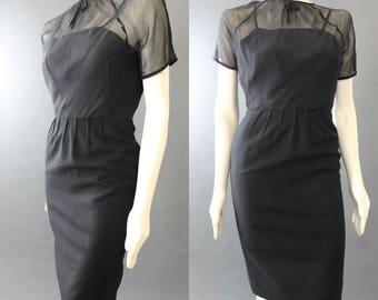 Vintage 50s ILLUSION Neckline Wool Silk Wiggle Skirt LBD Little BLack Dress XS S