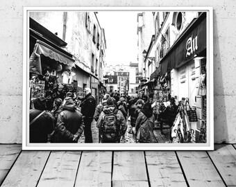 Paris photography,  Paris print, montmatre street print, black and white wall art, people photography, modern art, France Digital download
