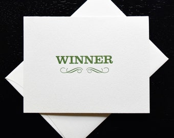 Letterpress Winner Greeting Card- blank inside
