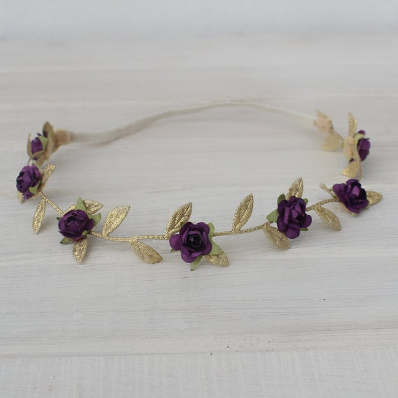 Purple Baby Headband, Grecian Headband,  Flower Headband, leaves headband, gold headband, Grecian Party Headband, Baby Girl Headband