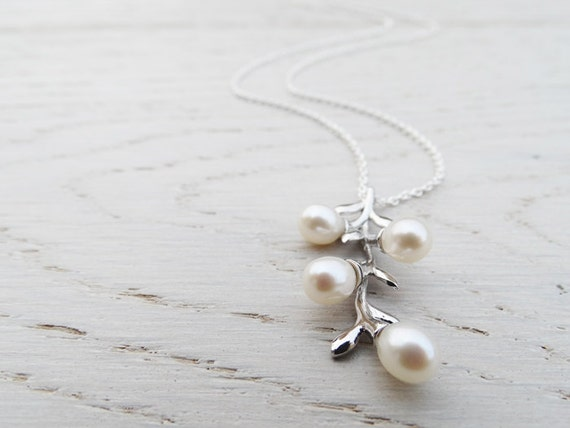 Silver & Pearl Branch Necklace - Sterling Silver