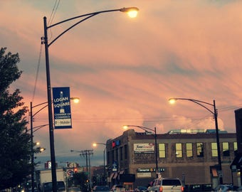 chicago photo, Logan Square, chicago photography, chicago art, sunset, pastels, pink, streetlights, lavender, city decor, travel, wall art
