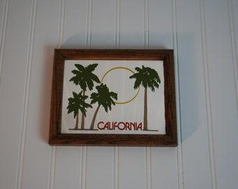 Vintage framed California, Palm Trees & Sun  Mirror, 1963