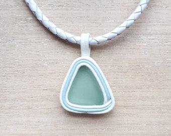 White Leather Necklace with Genuine Sea Foam Sea Glass Pendant Women Sea Glass Jewelry Beach Sea Glass Art Vintage Rare Frosty Sea Glass