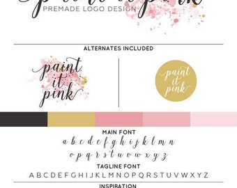 Pink Paint Logo & Watermark Premade Design - Custom Business Branding / Personal Name Text Graphics - Alternates Included