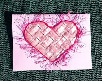 Ribbon woven pink heart card for Valentine, Mother Day, cancer survivor card, for all occasions
