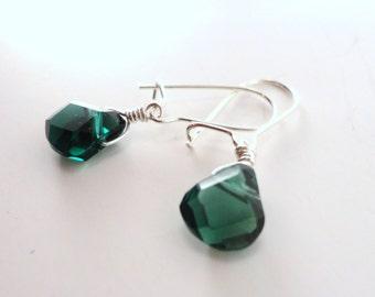 Green Apatite Earrings, Dainty Green Earrings, Tiny Green Earrings, Green Stone Earrings, Dark Green Earrings, Emerald Green, Green Teardrop