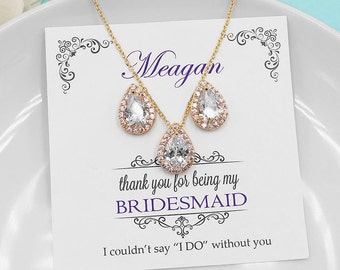 Bridesmaid Jewelry Gold, Bridesmaid Jewelry Set, personalized jewelry, bridal party jewelry necklace set, Heather Gold Bridesmaids Set