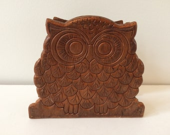 Mid Century wooden owl napkin holder