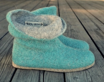 Felted shoes , wool boots , felt outdoor shoes , sheep wool , espadrille soles