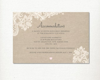 Wedding Accommodation card information, Lace & Linen, Vintage, Rustic and Romantic, Printable digital file
