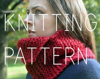 Knitting Pattern - Assymetrical Neck Cowl - Easy - Beginner - Digital Download