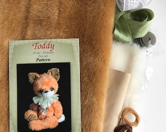 Complete teddy bear friend fox sewing KIT,  for making fox cub, diy stuffed plush toy,  how to make a toy fox step by step