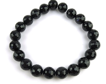 Black Onyx Faceted Round Beads, 18mm,