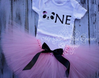 Panda First Birthday Outfit- Tutu Outfit- Cake Smash Outfit- 1st Birthday Outfit- Panda Birthday- First Birthday- One- Panda Party- Panda