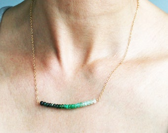 Emerald Necklace, May Birthstone, Gold Emerald Necklace, Green Ombre Necklace