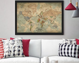 Canvas world map etsy vintage world map push pin canvas world map push pin wall art push pin gumiabroncs Image collections