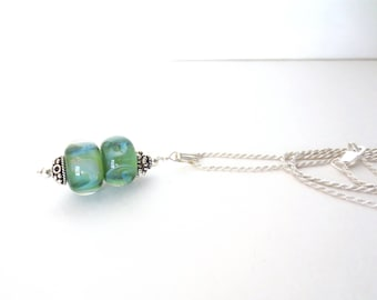 Green Glass Pendant Necklace - Sterling Silver Necklace - Lampwork Bead Necklace - Sage Green - .925 Sterling Silver - Spring Green Necklace