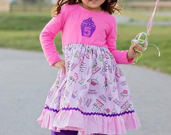 Girls Monogrammed Birthday Dress Pink Purple Cupcakes Ric Rac Toddler Infant