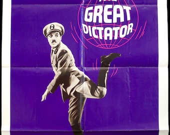 THE GREAT DICTATOR ~ U.S. 1 Sheet Movie Poster ~ Original 1972 Re-Release in Very Good Cond. ~ Charlie Chaplin Stars!
