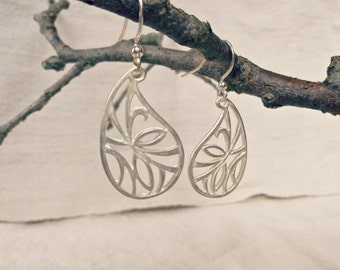 Paisley Silver Earrings, Silver Dangle Earrings, Silver Leaf Earrings, Matte Silver Jewelry