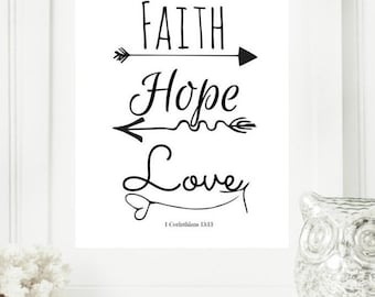 Limited Edition Digital Print - Instant 8x10 Faith, Hope, Love Black & White | Modern Christian Art | Scripture Print | Digital Download