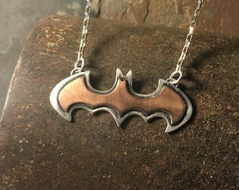 Batman necklace  copper on silver mixed metal gift for men