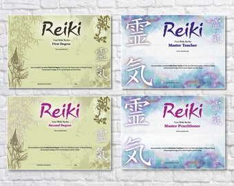 Stunning A4 Professional Reiki Certificates