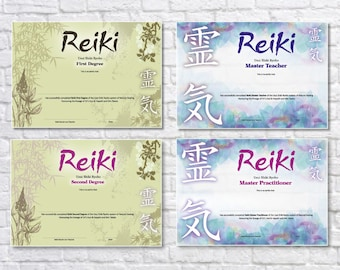 Reiki print etsy stunning a4 professional reiki certificates yelopaper Image collections