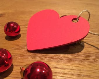 Handcut Red Heart Gift Tags to send someone special a message from the heart