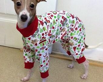 "Dog Pajamas. ""Santa's Little Helper Pajamas"" - Italian Greyhound and small dog sizes"
