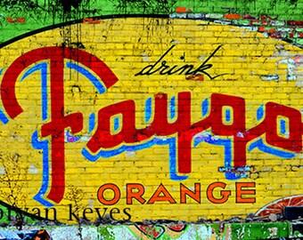 Faygo Orange pop vintage ghost sign photograph on canvas.