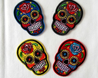 Day Of The Dead Embroidered Skull Patches
