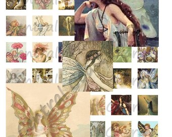 Vintage Fairies Altered Art Ephemera Collage Sheet 1 inch squares Digital Download - Mixed Media Soldered Pendants - Central Coast Charms