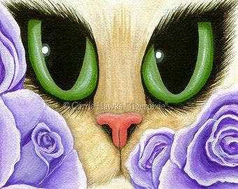 Cat Fantasy Art Cat Painting Lavender Roses Green Eyes Fantasy Cat Art Limited Edition Canvas Print 11x14 Art For Cat Lover