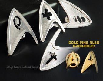 Star Trek TOS Insignia Brooch Pin - Commander, Medical, Science, or Engineering
